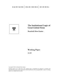 The Institutional Logic of Great Global Firms Working Paper
