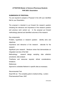 ATTENTION Master of Science (Pharmacy) Students PHR 5003- Dissertation  SUBMISSION OF PROPOSAL