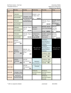BSc Pharm Science - First Year University of Malta Timetable Semester 2