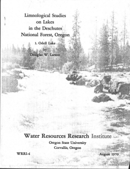 Water Resources Research Institute Oregon . State University Corvallis, Oregon . 1tio
