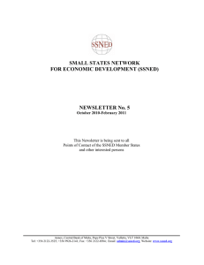 SMALL STATES NETWORK FOR ECONOMIC DEVELOPMENT (SSNED)  NEWSLETTER No. 5