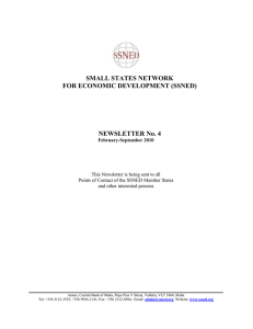SMALL STATES NETWORK FOR ECONOMIC DEVELOPMENT (SSNED)  NEWSLETTER No. 4