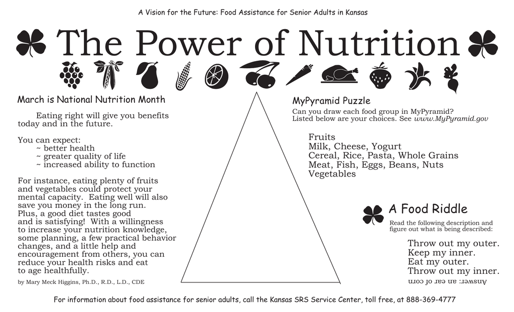 The Power of Nutrition MyPyramid Puzzle March is National