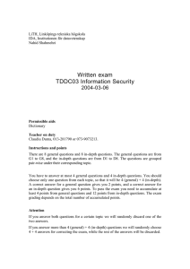 Written exam TDDC03 Information Security 2004-03-06