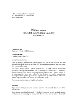 Written exam TDDC03 Information Security 2005-03-11