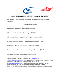 CERTIFICATION PRICE LIST FOR CORNELL UNIVERSITY