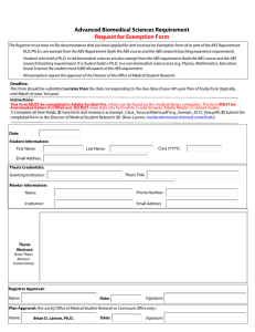 Advanced Biomedical Sciences Requirement Request for Exemption Form