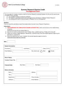 Summer Research Elective Credit Pre-Approval Form