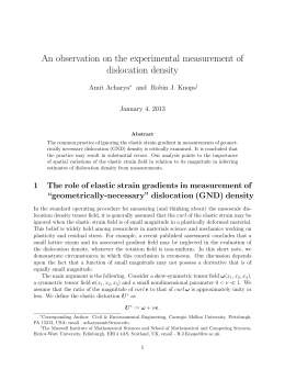 An observation on the experimental measurement of dislocation density Amit Acharya