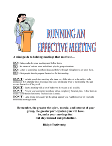 A mini guide to holding meetings that motivate… DO: