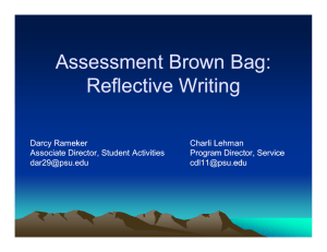 Assessment Brown Bag: Reflective Writing