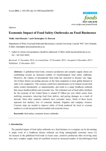 foods Economic Impact of Food Safety Outbreaks on Food Businesses