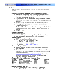 Service Level Agreement with the Division of Student Affairs Service-Level Agreement