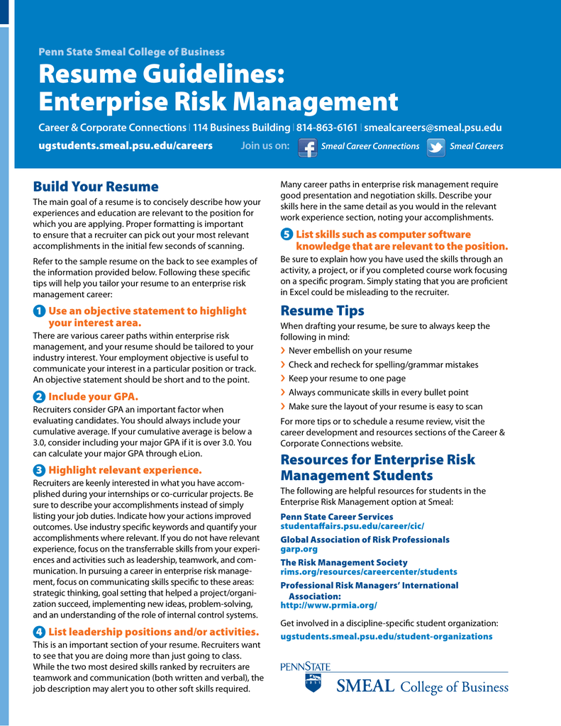 resume guidelines  enterprise risk management