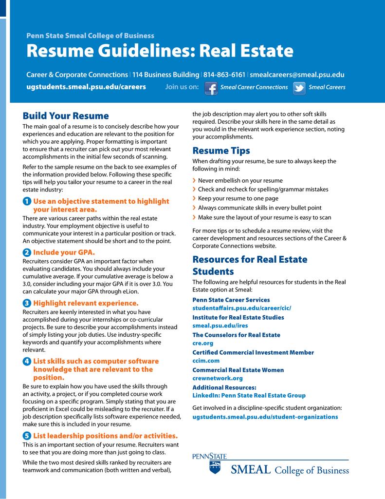 resume guidelines real estate
