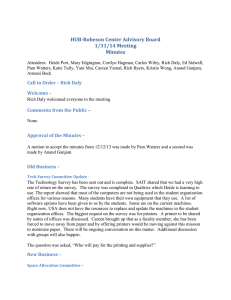 HUB-Robeson Center Advisory Board 1/31/14 Meeting Minutes