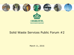 Solid Waste Services Public Forum #2 March 11, 2016
