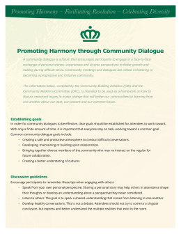 Promoting Harmony – Facilitating Resolution – Celebrating Diversity
