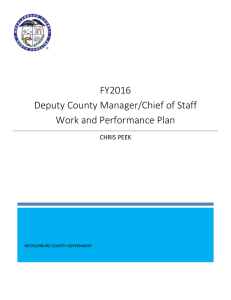 FY2016 Deputy County Manager/Chief of Staff Work and Performance Plan