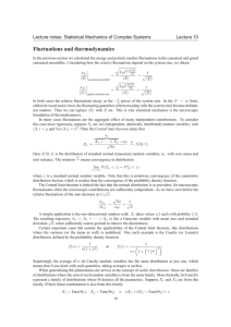 Fluctuations and thermodynamics Lecture notes: Statistical Mechanics of Complex Systems Lecture 10