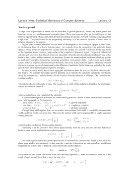 Lecture notes: Statistical Mechanics of Complex Systems Lecture 13 Surface growth
