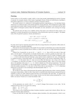 Lecture notes: Statistical Mechanics of Complex Systems Lecture 14 Flocking