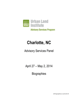 Charlotte, NC Advisory Services Panel April 27 – May 2, 2014