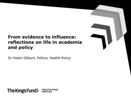 From evidence to influence: reflections on life in academia and policy