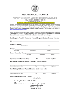 MECKLENBURG COUNTY PROPERTY ASSESSMENT AND LAND RECORDS MANAGEMENT CHANGE OF ADDRESS NOTICE