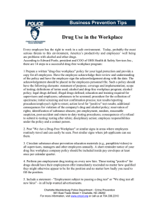 Drug Use in the Workplace Business Prevention Tips