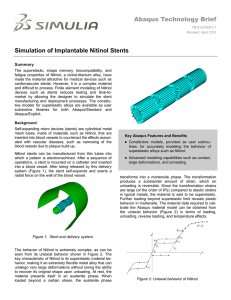 Abaqus Technology Brief Simulation of Implantable Nitinol Stents
