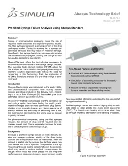 Abaqus Technology Brief Pre-filled Syringe Failure Analysis using Abaqus/Standard