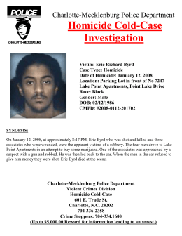Homicide Cold-Case Investigation Charlotte-Mecklenburg Police Department