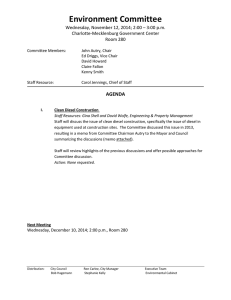 Environment Committee  Wednesday, November 12, 2014; 2:00 – 3:00 p.m.