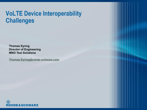 VoLTE Device Interoperability Challenges Thomas Eyring Director of Engineering