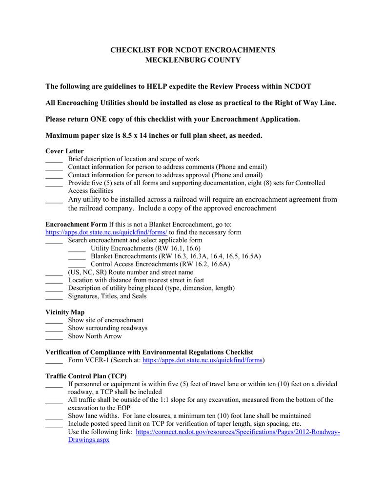 Checklist For Ncdot Encroachments Mecklenburg County