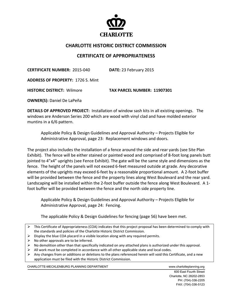 CHARLOTTE HISTORIC DISTRICT COMMISSION CERTIFICATE OF APPROPRIATENESS