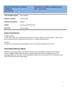 Charlotte Historic District Commission  Application for a Certificate of Appropriateness Staff Review