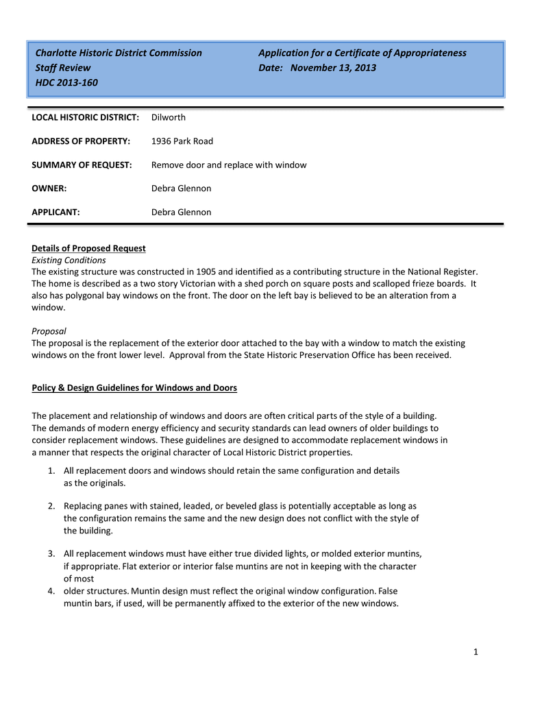 Charlotte Historic District Commission Application for a