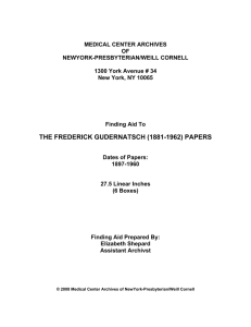 MEDICAL CENTER ARCHIVES OF NEWYORK-PRESBYTERIAN/WEILL CORNELL
