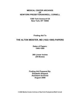 MEDICAL CENTER ARCHIVES OF NEWYORK-PRESBYTERIAN/WEILL CORNELL