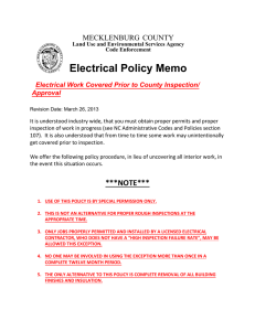 Electrical Policy Memo MECKLENBURG COUNTY Electrical Work Covered Prior to County Inspection/