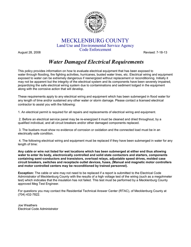 MECKLENBURG COUNTY Water Damaged Electrical Requirements Land Use ...