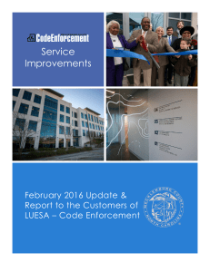 Service Improvements February 2016 Update & Report to the Customers of