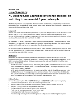 Issue Summary: NC Building Code Council policy change proposal on