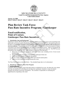 Plan Review Task Force Pass Rate Incentive Program - Gatekeeper  Email notification,