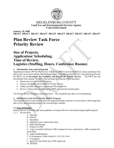 Plan Review Task Force Priority Review