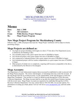 Memo MECKLENBURG COUNTY New Mega Project Program for Mecklenburg County