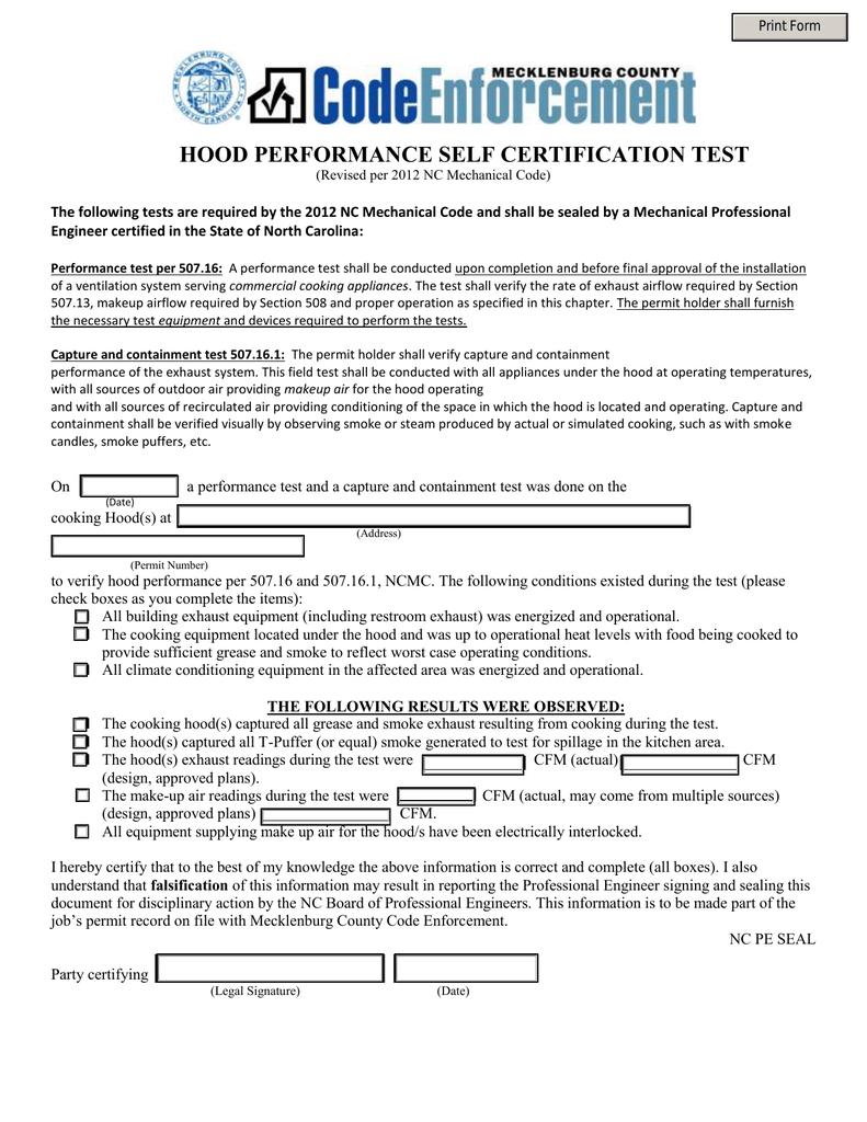 Hood Performance Self Certification Test