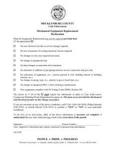MECKLENBURG COUNTY Mechanical Equipment Replacement Declaration